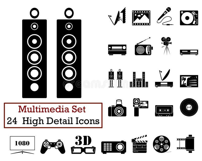 24 de Pictogrammen van verschillende media stock illustratie