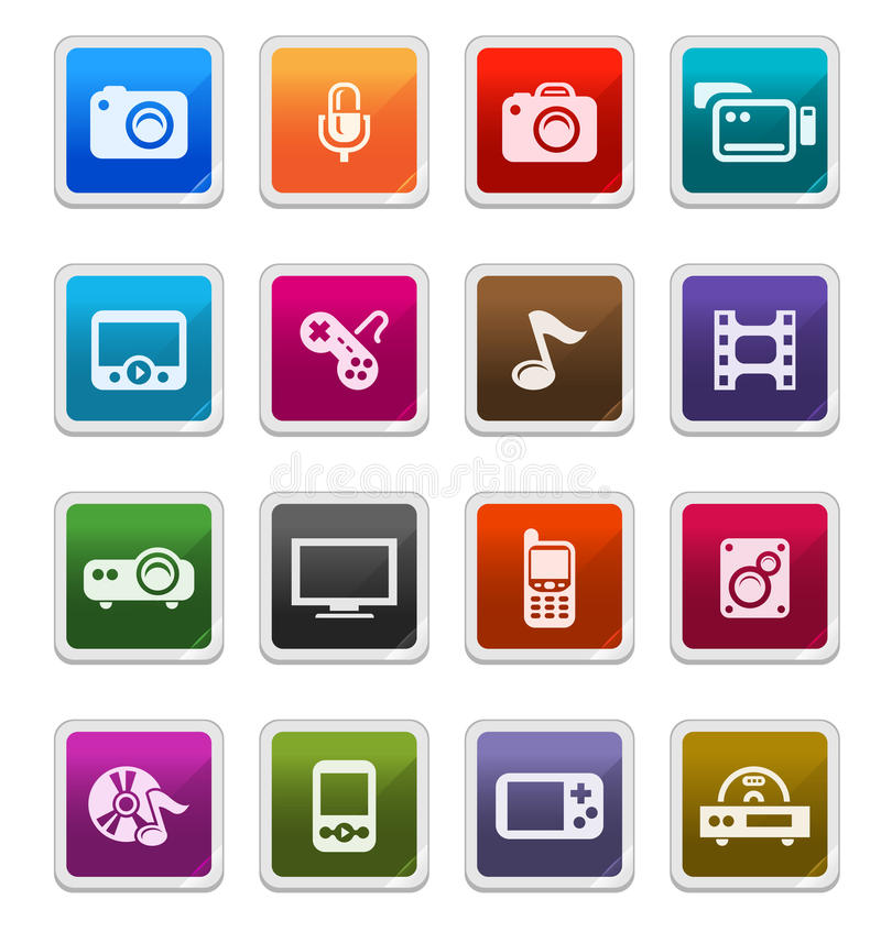De Pictogrammen van verschillende media - stickerreeks vector illustratie