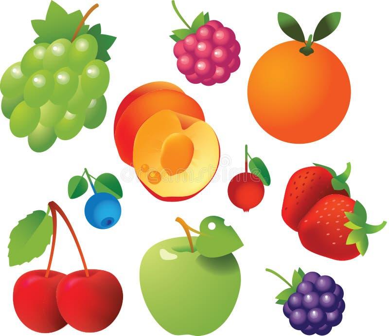 De Pictogrammen van verse Vruchten stock afbeeldingen