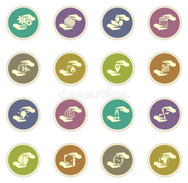 De pictogrammen van verzekeringshanden stock illustratie