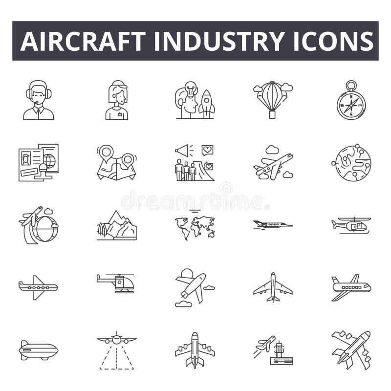 De pictogrammen van de vliegtuigindustrielijn De tekens van de Editableslag Conceptenpictogrammen: luchtvaart, straal, vliegtuig, stock illustratie