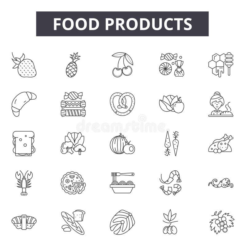 De pictogrammen van de voedingsmiddelenlijn, tekens, vectorreeks, het concept van de overzichtsillustratie stock illustratie