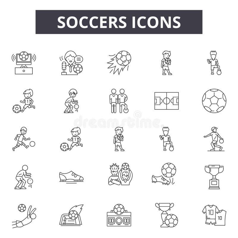 De pictogrammen van de voetballijn, tekens, vectorreeks, het concept van de overzichtsillustratie royalty-vrije illustratie
