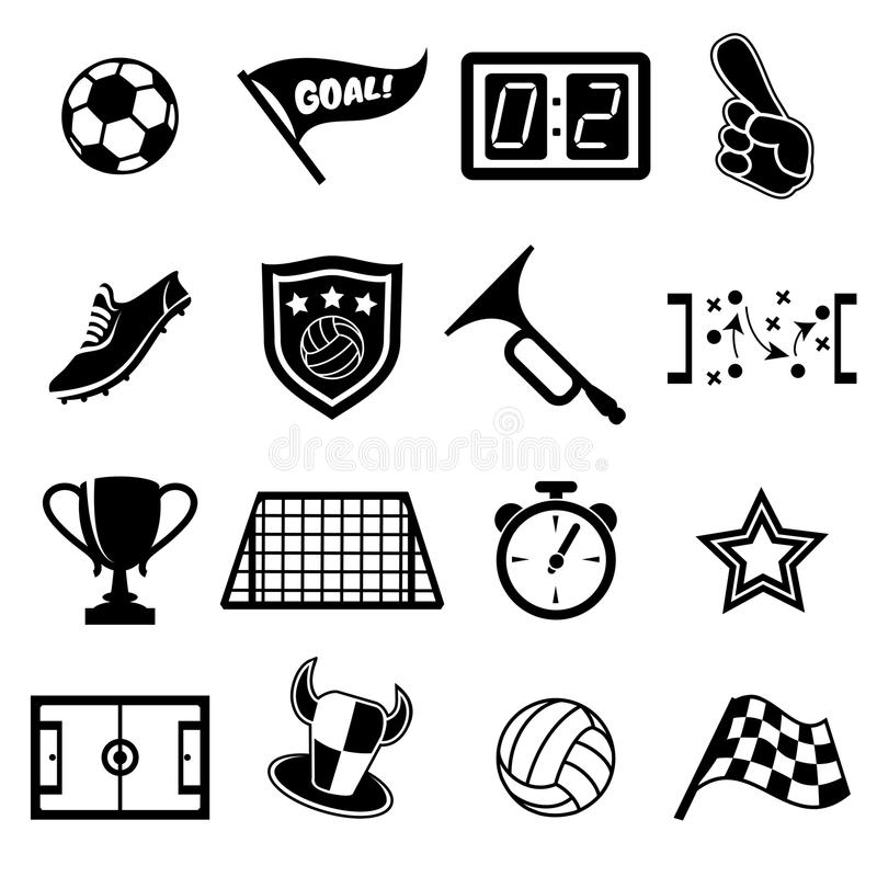 De pictogrammen van voetbalventilators stock illustratie