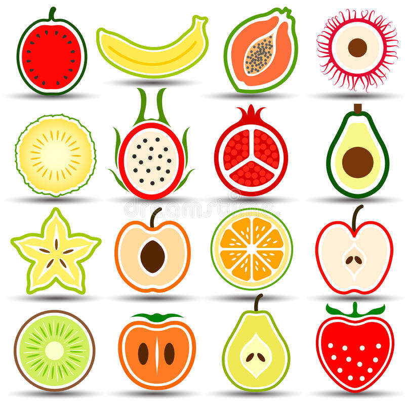 De pictogrammen van vruchten vector illustratie