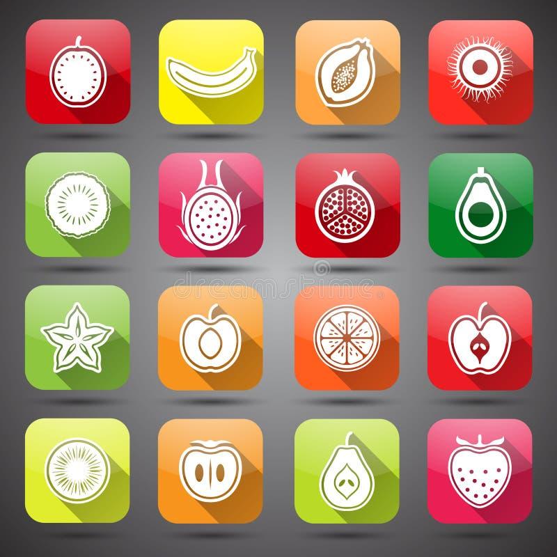 De pictogrammen van vruchten stock illustratie