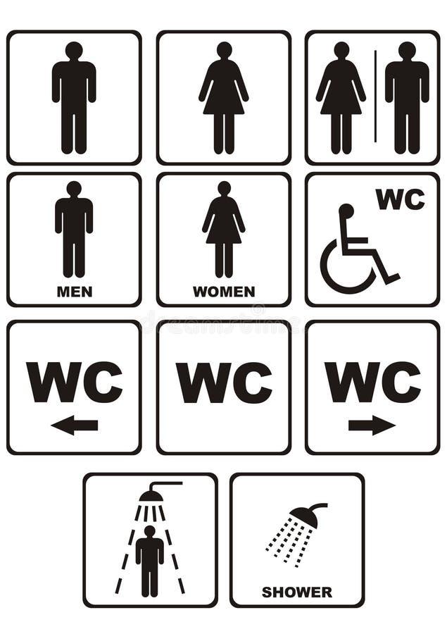 De pictogrammen van WC op wit stock illustratie