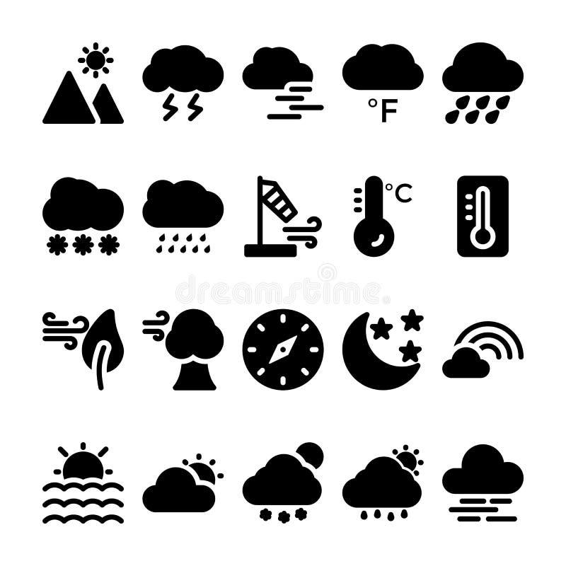 De Pictogrammen van weerglyph plaatsen 2 vector illustratie
