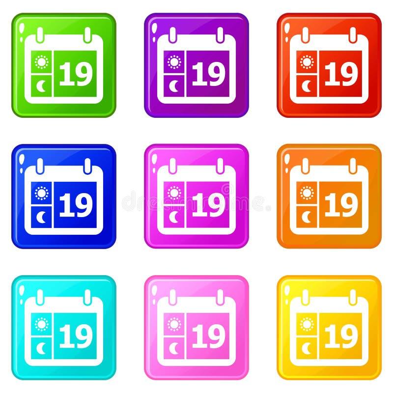 De pictogrammen van de weerkalender plaatsen 9 kleureninzameling stock afbeelding