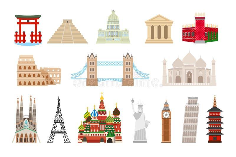 De pictogrammen van wereldoriëntatiepunten in vlakke stijl vector illustratie