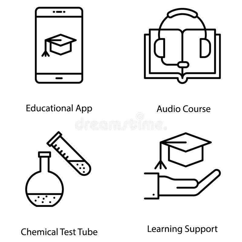 De pictogrammen van de wetenschap en van het onderwijs stock illustratie