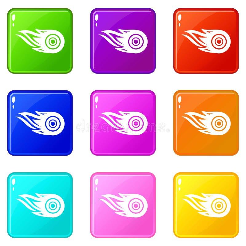 De pictogrammen van de wielbrand plaatsen 9 kleureninzameling vector illustratie