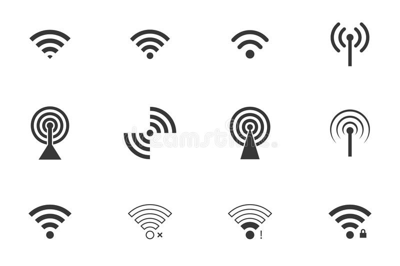 De pictogrammen van Wifi vector illustratie