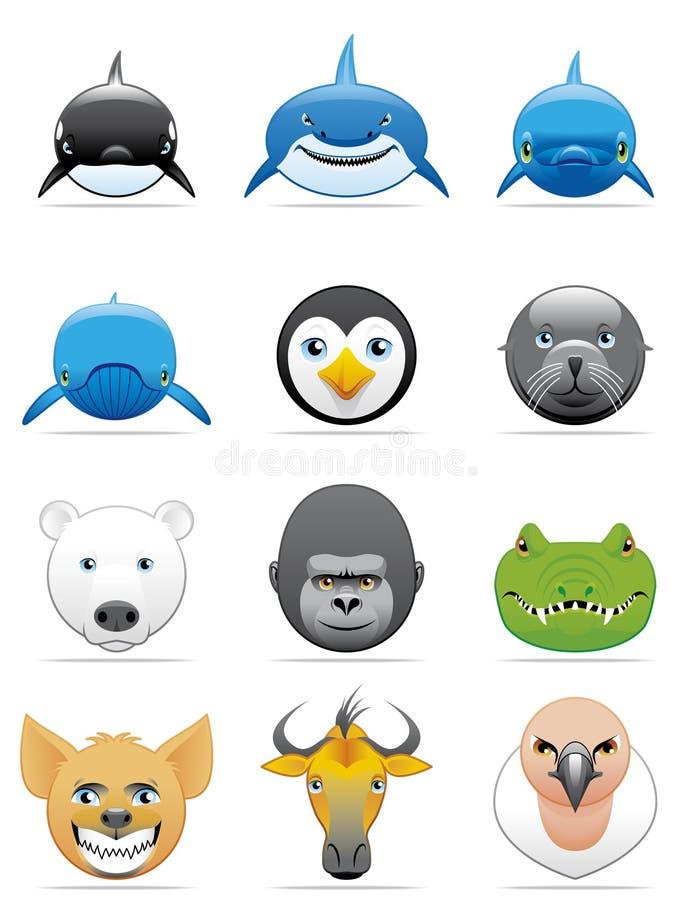 De pictogrammen van wilde dieren vector illustratie