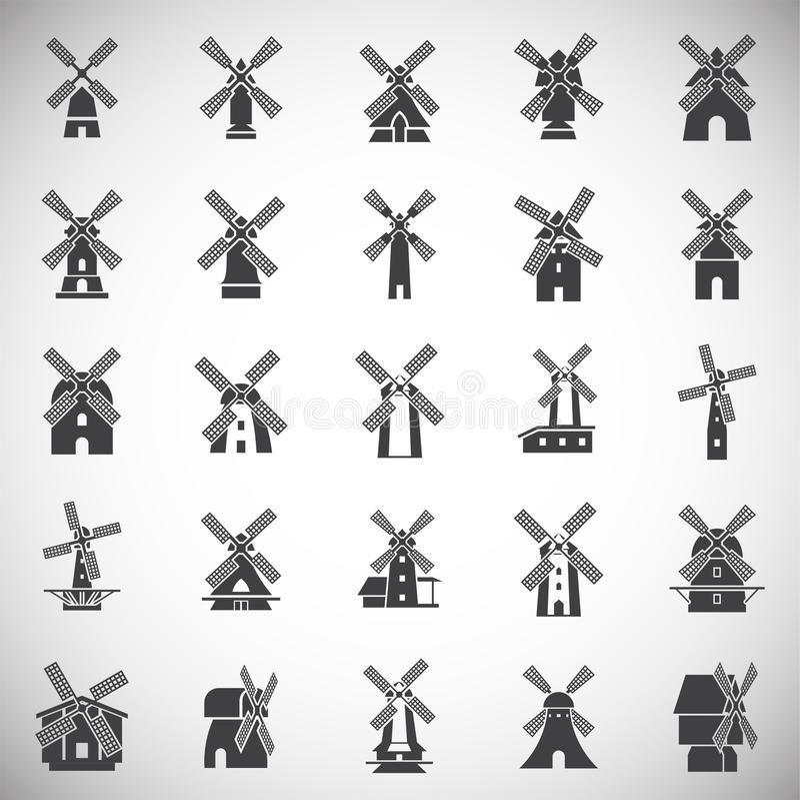 De pictogrammen van de windmolen op achtergrond voor grafisch en Webontwerp dat worden geplaatst Eenvoudige illustratie Internet- vector illustratie