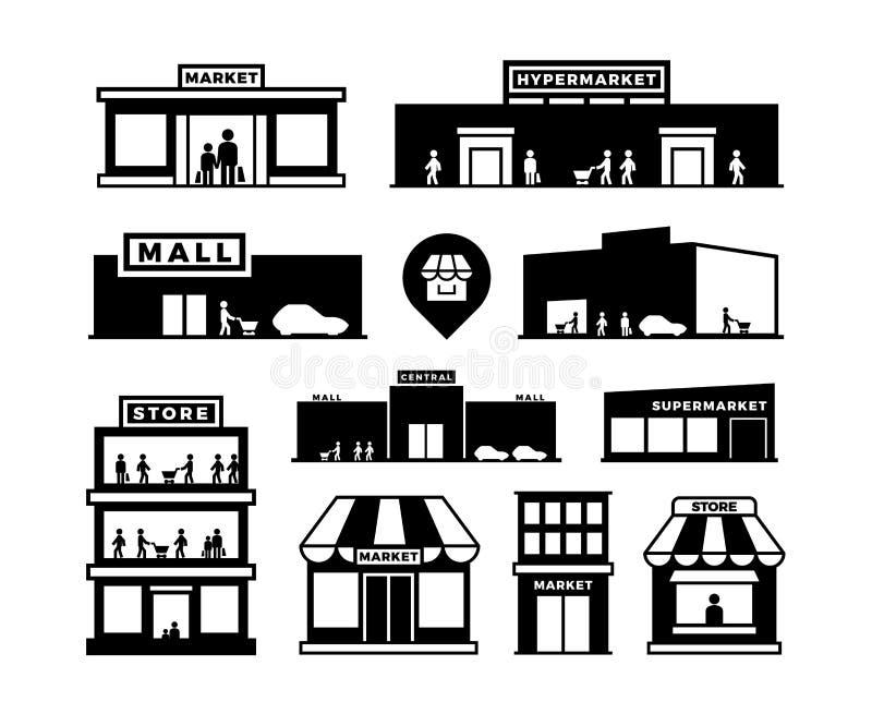 De pictogrammen van winkelcomplexgebouwen Opslagbuitenkanten met mensenpictogrammen Winkelhuizen met geïsoleerde klanten vectorsy royalty-vrije illustratie