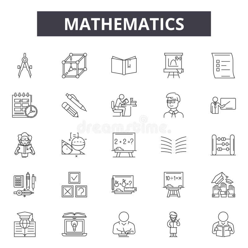 De pictogrammen van de wiskundelijn, tekens, vectorreeks, het concept van de overzichtsillustratie stock illustratie