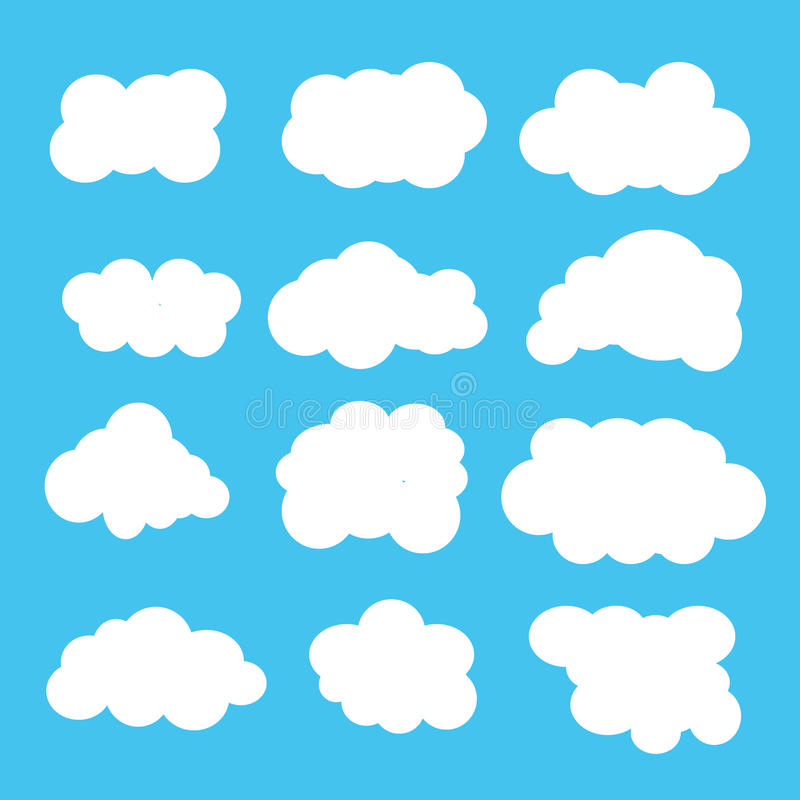 De pictogrammen van wolken royalty-vrije stock afbeeldingen