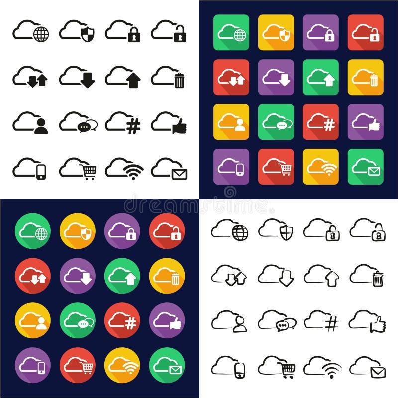 De Pictogrammen van de wolkendienst allen in Één Vlakke het Ontwerpreeks Uit de vrije hand van de Pictogrammen Zwarte & Witte Kle vector illustratie