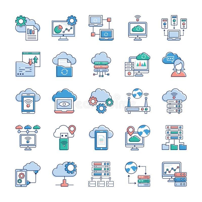 De pictogrammen van de wolkentechnologie stock illustratie