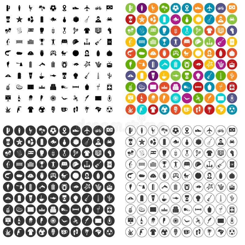 100 de pictogrammen van Zuid-Amerika geplaatst vectorvariant stock illustratie
