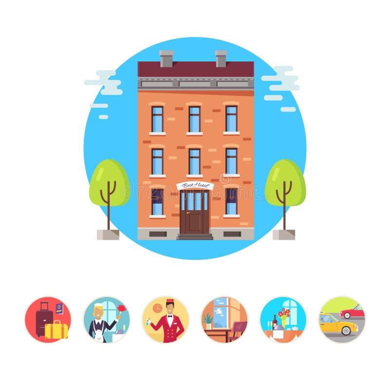 De Pictogrammen Vectorillustratie van de hoteldiensten royalty-vrije illustratie