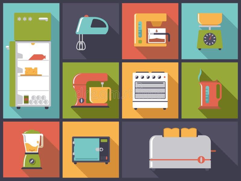 De pictogrammen vectorillustratie van keukentoestellen royalty-vrije illustratie