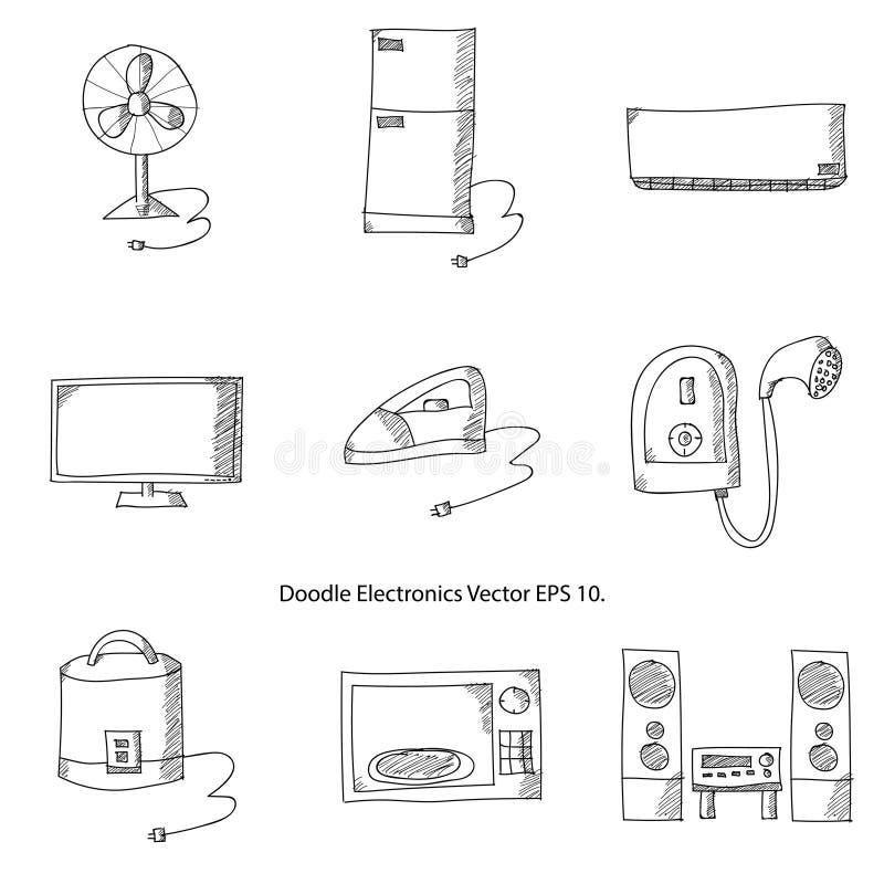 De Pictogrammen Vectorillustrator EPS 10 van de krabbelelektronika stock illustratie