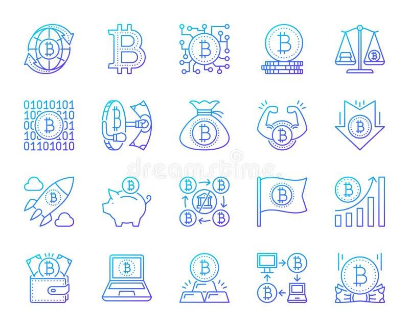 De pictogrammen vectorreeks van de Bitcoin eenvoudige rassenbarrière stock illustratie
