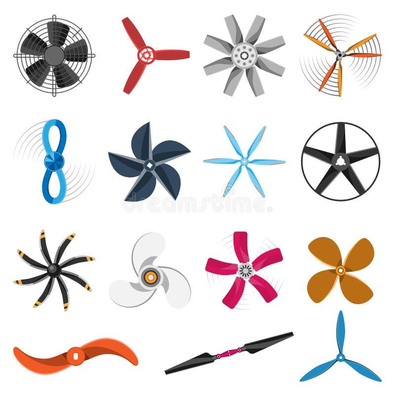 De pictogrammen vectorreeks van de propellerventilator royalty-vrije illustratie