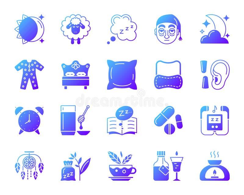 De pictogrammen vectorreeks van de slapeloosheids eenvoudige gradiënt royalty-vrije illustratie