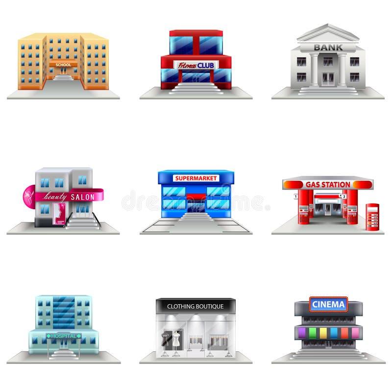 De pictogrammen vectorreeks van stadsgebouwen vector illustratie