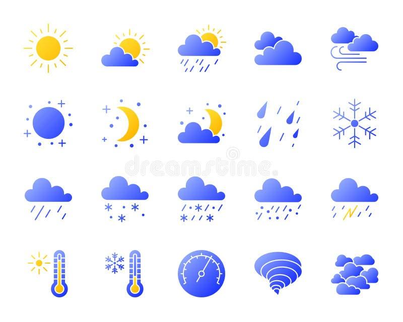 De pictogrammen vectorreeks van de weer eenvoudige gradiënt royalty-vrije illustratie
