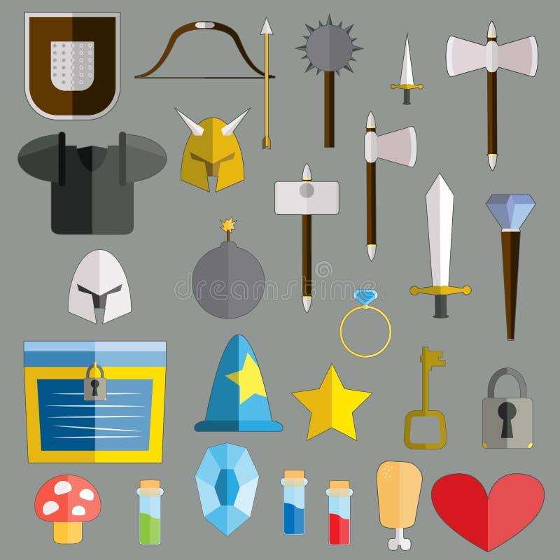 De pictogrammen vlakke reeks van het spelwapen Wapens, magische schilden, rollen stock illustratie