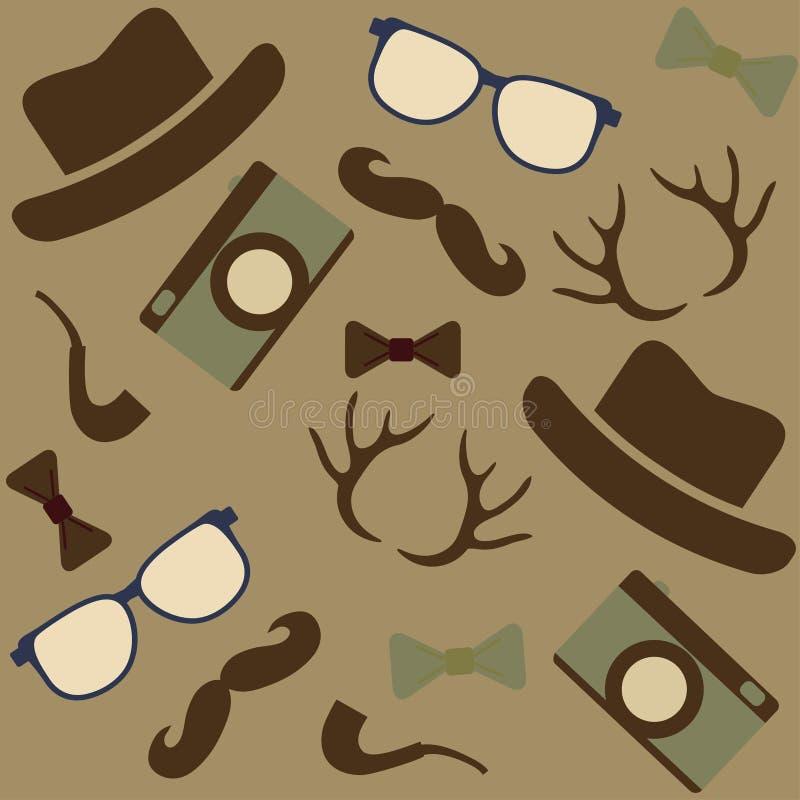 De pictogrammenachtergrond van naadloze Hipster stock illustratie