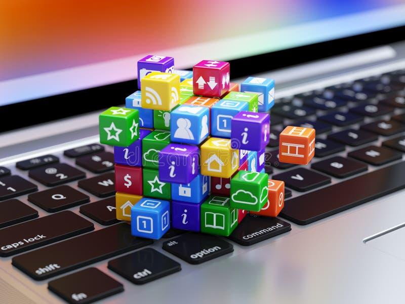 De pictogrammendoos van het softwareconcept op het laptop computertoetsenbord royalty-vrije illustratie