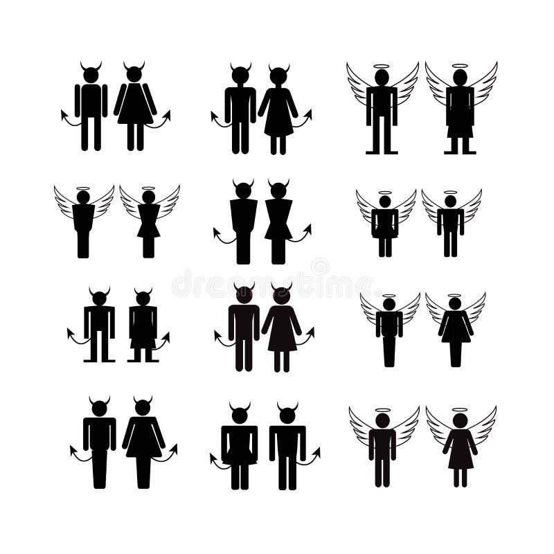 De pictogrammenillustratie van silhouetmensen vector illustratie