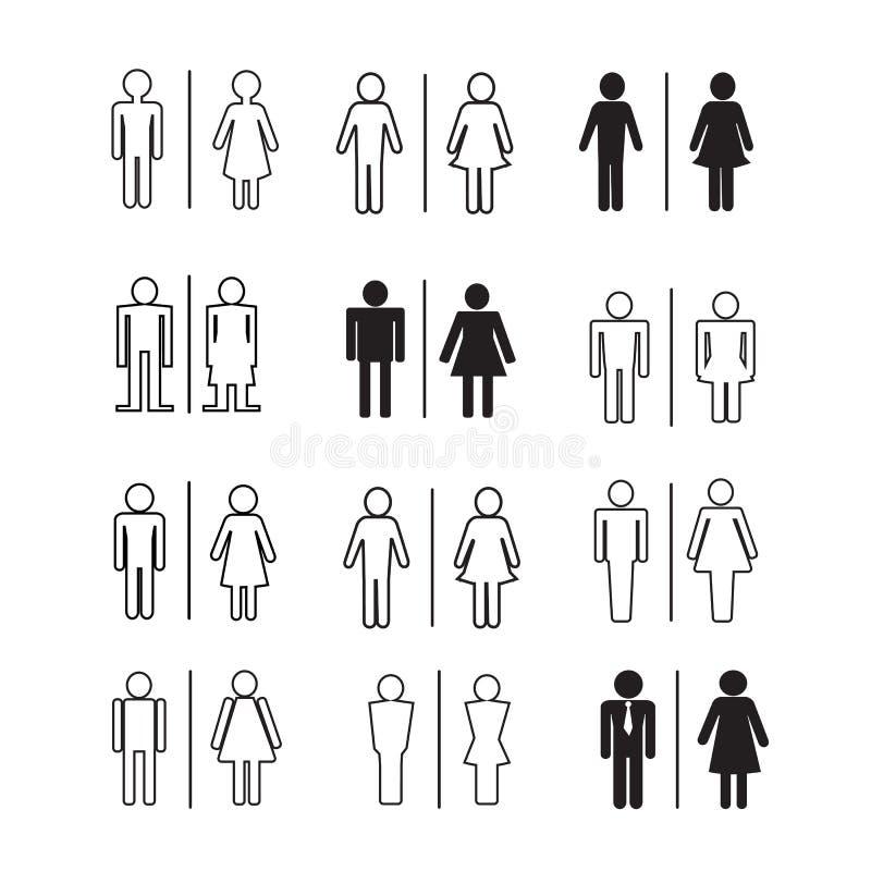De pictogrammenillustratie van silhouetmensen stock illustratie