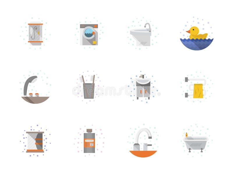 De pictogrammeninzameling van de badkamers vlakke kleur vector illustratie