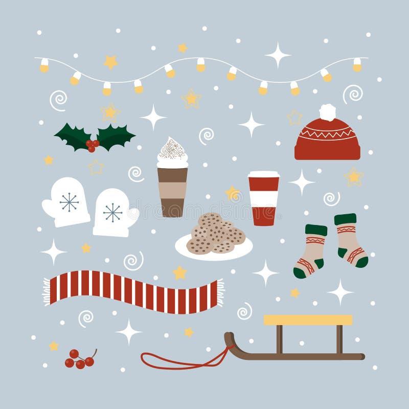 De pictogrammeninzameling van Kerstmis en van de Winter stock foto's