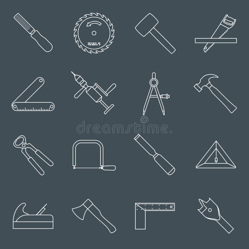 De pictogrammenoverzicht van timmerwerkhulpmiddelen stock illustratie