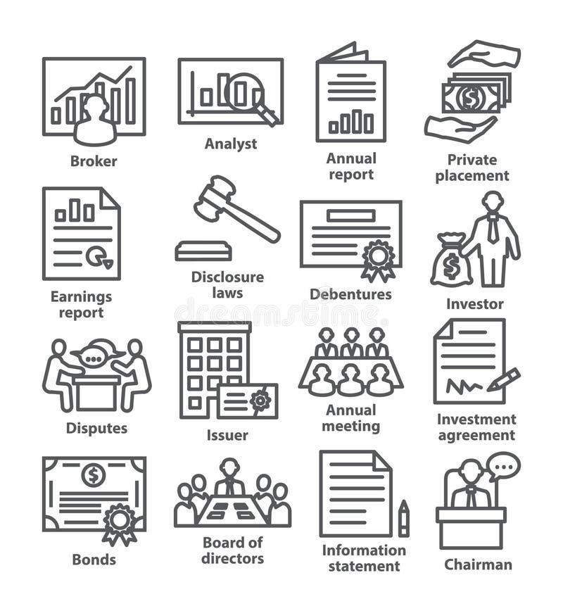 De pictogrammenpak 37 van de bedrijfseconomielijn royalty-vrije illustratie