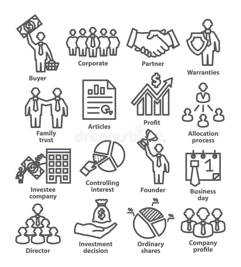 De pictogrammenpak 38 van de bedrijfseconomielijn vector illustratie