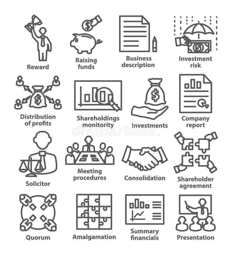 De pictogrammenpak 43 van de bedrijfseconomielijn vector illustratie
