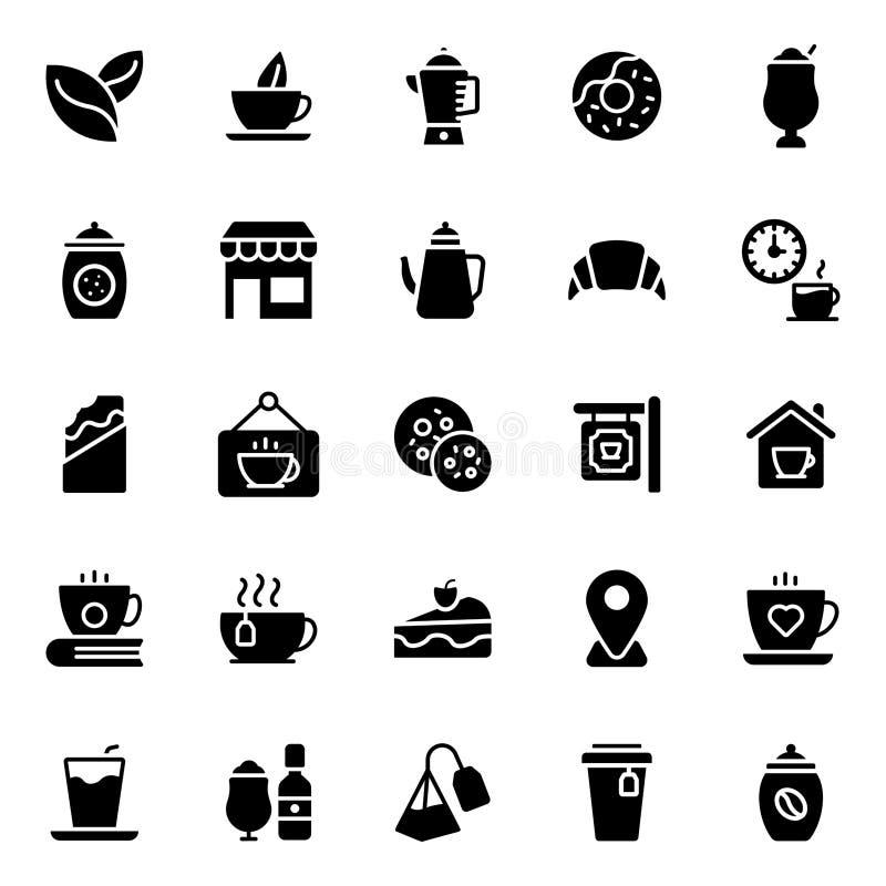 De Pictogrammenpak van koffieglyph royalty-vrije illustratie