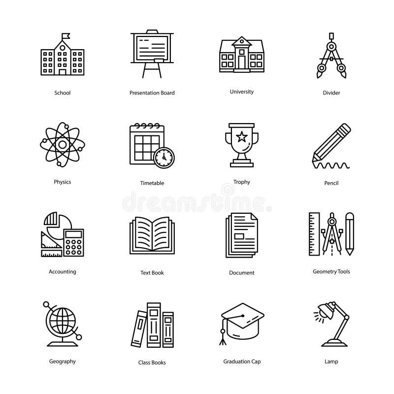De Pictogrammenpak van de onderwijslijn stock illustratie