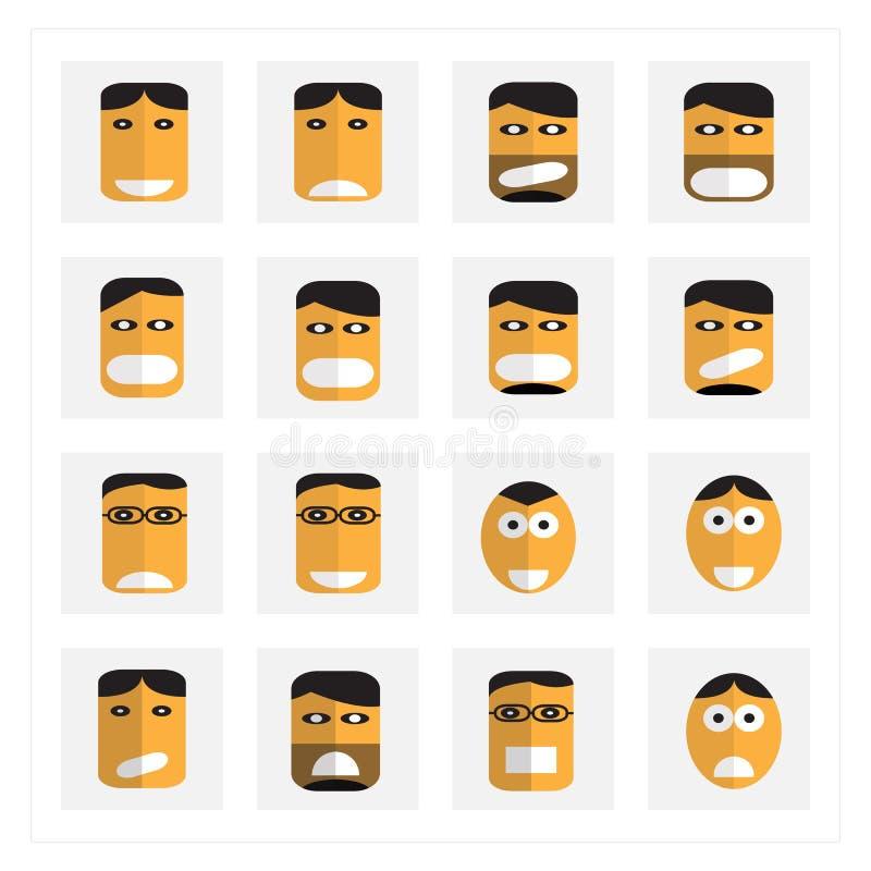 De pictogrammenreeksen van het emotiebeeldverhaal royalty-vrije stock foto's