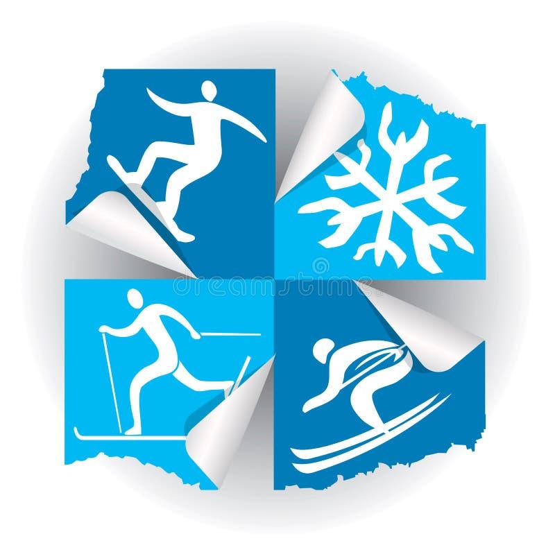 De pictogrammenstickers van de de wintersport royalty-vrije illustratie