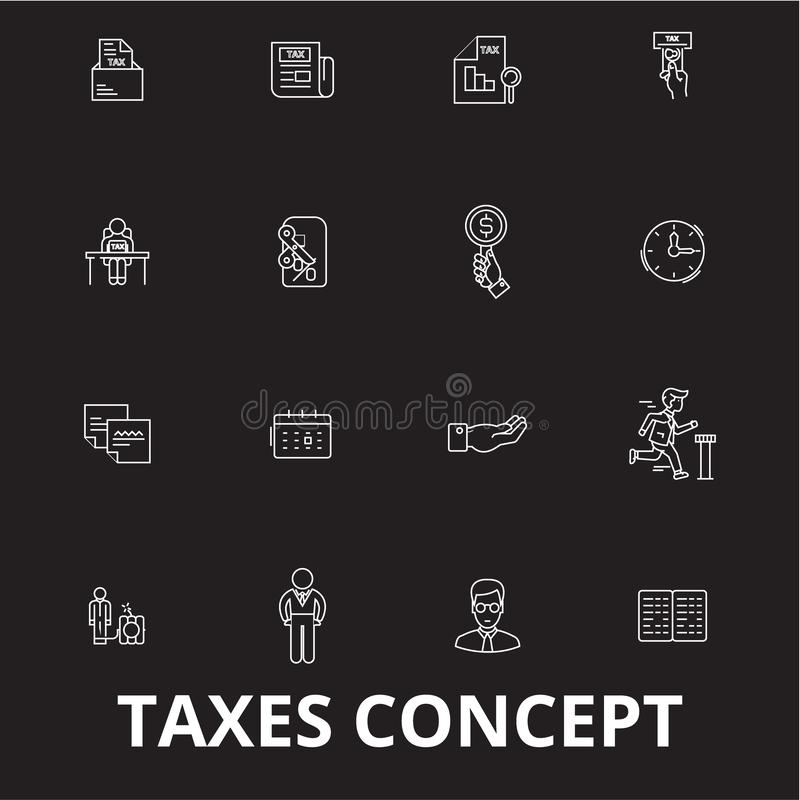 De pictogrammenvector van de belastingen editable die lijn op zwarte achtergrond wordt geplaatst Illustraties van het belastingen vector illustratie