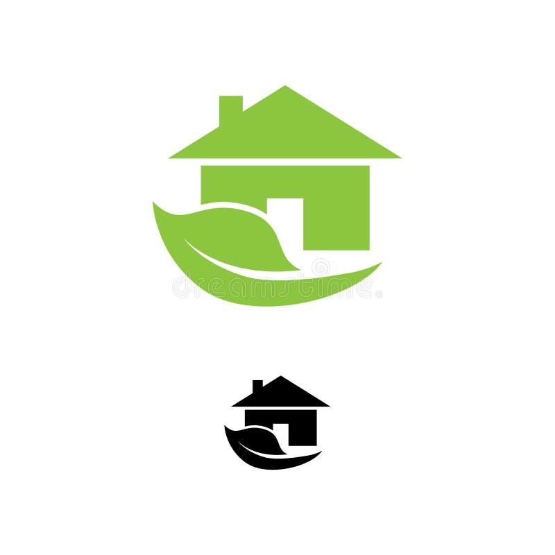 De pictogrammenvector van het Eco groene huis Milieuvriendelijk huis royalty-vrije illustratie